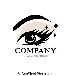 Modern Beautiful female eye and eyelashes logo.Vector illustration.