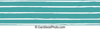 Modern paint brush striped vector seamless border. Aqua blue white banner with varying horizontal handmade painterly continuous stripes. Abstract design for ribbon, edging header, wellness, summer