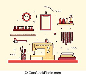 Modern seamstress work linear style Sewing machine