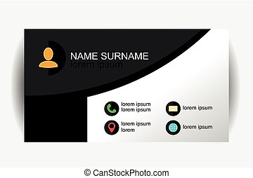 Modern simple business card template with flat user interface. Vector Design