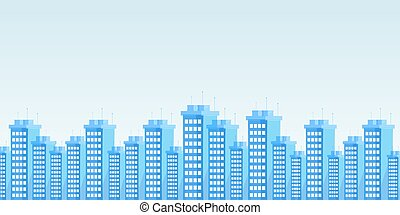 Modern urban skyline flat vector illustration. Contemporary city architecture, business district cityscape decorative backdrop with copyspace. High rise apartments, office buildings panorama