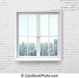 window with skyscraper view