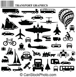 Modes of transportation graphic collection individually layered
