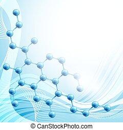 molecule over blue background