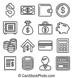 Money and Banking Icon Set. Line Style Vector