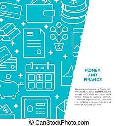 Money and finance banner in line style with text