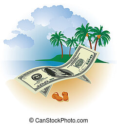 hundred dollar bills on a background of the sea beach and palm trees with coconuts