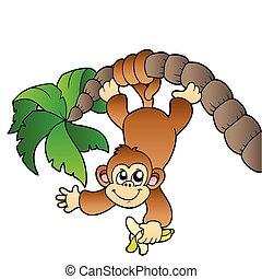Monkey hanging on palm tree - vector illustration.