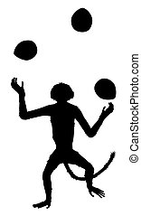 Monkey juggling coconuts sihouette
