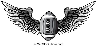 Realistic ball for American football with black wings emblem