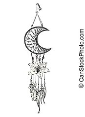 Monochrome vector illustration with hand drawn dream catcher. Ornate ethnic items, feathers, beads and flower.