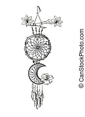 Monochrome vector illustration with hand drawn dream catcher. Ornate ethnic items, feathers, beads and flowers.