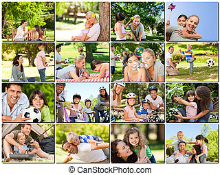 Montage of young adults having fun with their children in the park