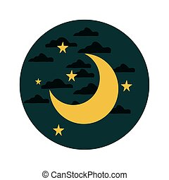 moon with stars on a cloudy night sky