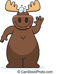 A happy cartoon moose waving and smiling.