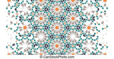 Moroccan tile repeating vector pattern, border.
