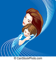 Mother And Daughter, editable vector illustration