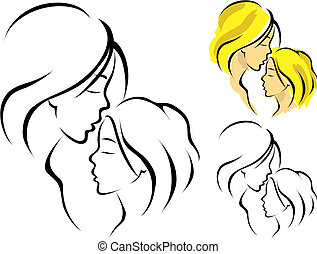 Line art logo of a mother and her daughter, vector illustration