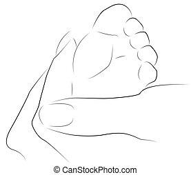 Baby foot in mother hand