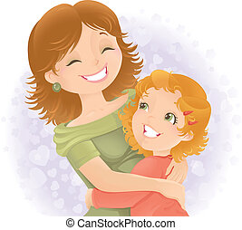 Little girl hugging her mother. Great for Mother's day.
