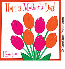 Mother's Day tulip card in vector format.