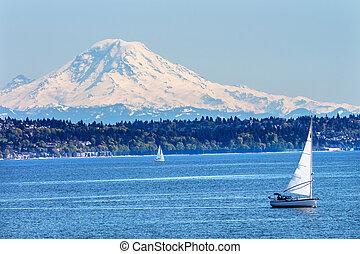 Mount Rainier Puget Sound North Seattle Snow Mountain Sailboats Washington State Pacific Northwest