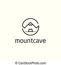 Mountain cave Vector icon logo template