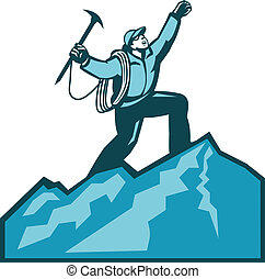 Illustration of mountain climber climbing reaching the summit celebrating holding ice axe done in retro woodcut style.
