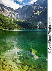 Mountain lake on the background of rocky mountains