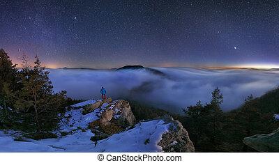 Mountain night landscape panorama