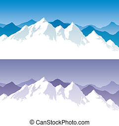 Background with snowy mountain range in 2 color versions. You can extend the white part below the peaks, and use it for typing text. No transparency used. Basic (linear) gradients.