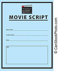 Workbook for the movie script. Vector illustration.
