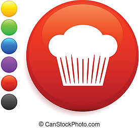 muffin icon on round internet button original vector illustration 6 color versions included