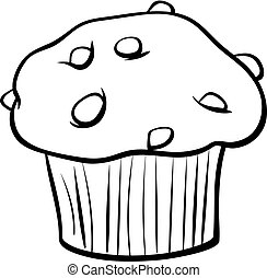 Black and White Cartoon Illustration of Sweet Muffin Cake with Chunks of Chocolate Clip Art Food Object Coloring Book