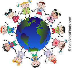 mixed ethnic boys and girls around the planet