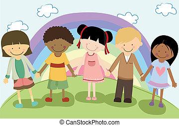 A vector illustration of multi ethnic children holding hands for diversity concept