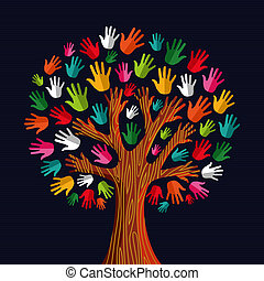 Colorful diversity tree hands illustration. Vector illustration layered for easy manipulation and custom coloring.