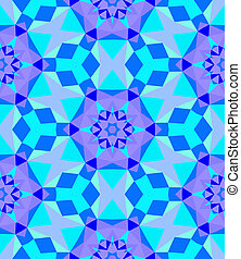 Multicolor geometric pattern in bright blue.