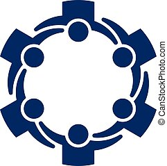 Multiethnic group of people holding together, community and friendship concept. Vector Logo