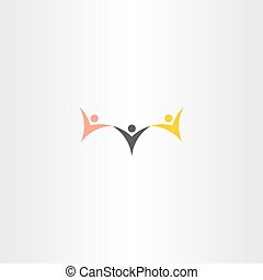 multiracial people hold hand vector icon logo