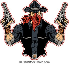 muscular cowboy bandit with pistols