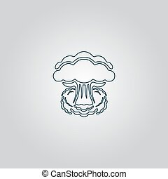 Mushroom cloud, nuclear explosion, silhouette