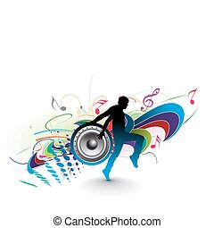 silhouetted a young man enjoy music in floral wave background, vector illustration.