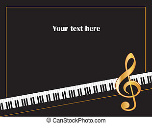 Music entertainment event poster frame, piano keyboard, golden treble clef, horizontal. Copy space for concerts, performances, recitals, events, announcements, fliers.