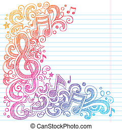 Music Notes Sketchy Doodles G Clef