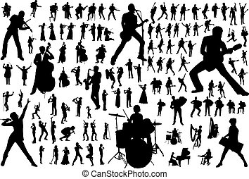Black silhouettes of musicians. Vector illustration