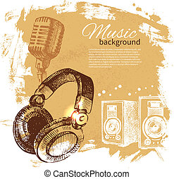 Music vintage background. Hand drawn illustration. Splash blob retro design with headphones