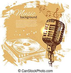 Music vintage background. Hand drawn illustration. Splash blob retro design with microphone