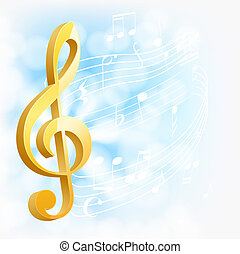 musical background with golden key