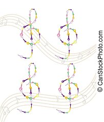 Musical key Vector colorful notes symbol illustration